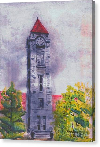 Indiana University Iu Canvas Print - Iu Clock Tower by Ted Reeves