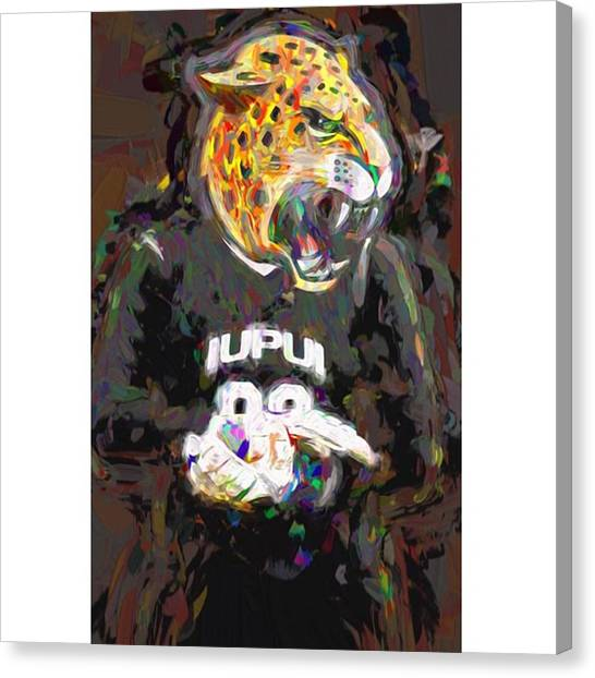College Canvas Print - @iupui #iupuijaguars #iupui #jaguars by David Haskett II