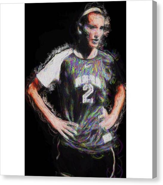College Canvas Print - @iupui #soccer #futbol #painting by David Haskett II