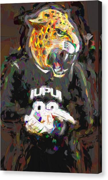 Indiana University Iu Canvas Print - Iupui University Jaguars Soccer Goalie Painted by David Haskett II
