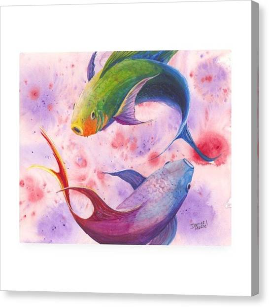 Fish Canvas Print - I've Been On A Koi And Sea Turtle Kick by Darice Machel McGuire
