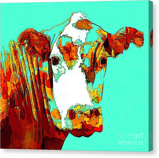 Turquoise Cow Canvas Print