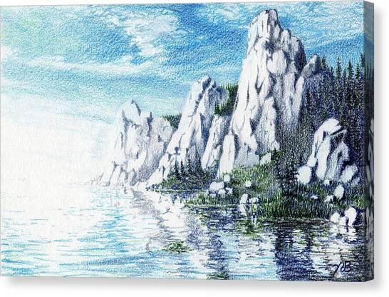 Prisma Colored Pencil Canvas Print - Ivory Cliffs by Nils Bifano