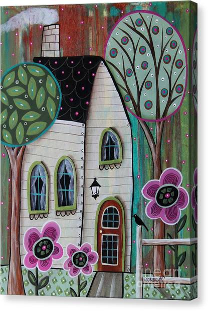 White House Canvas Print - Ivory Cottage by Karla Gerard