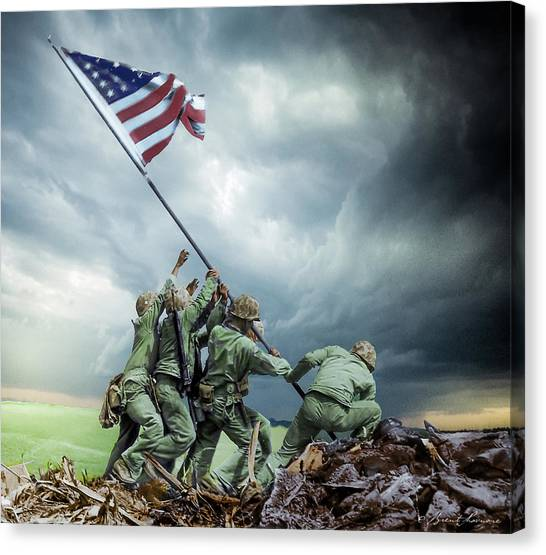 Iwo Jima 2nd Flag Raising Restored Canvas Print by Brent Shavnore