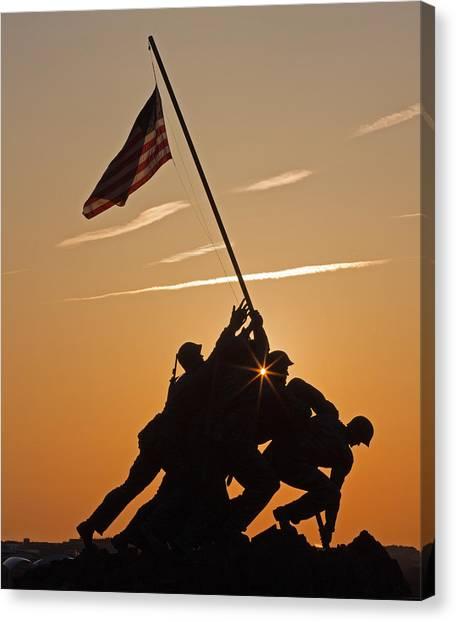 Iwo Jima Silhouette Canvas Print by Jack Nevitt