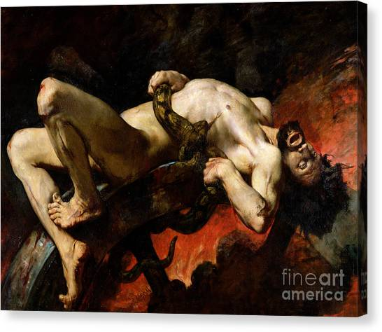 Centaurs Canvas Print - Ixion Thrown Into Hades by Jules Elie Delaunay