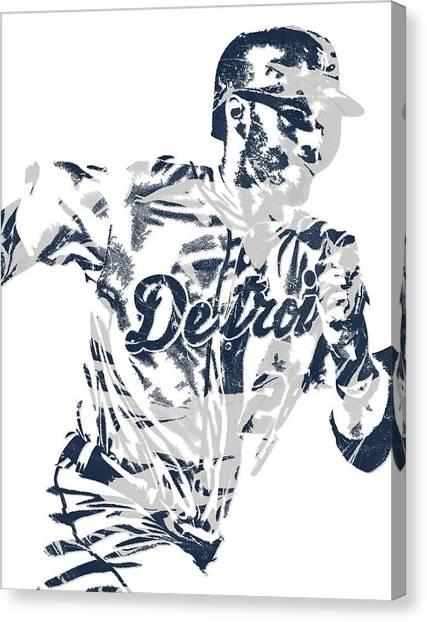 Detroit Tigers Canvas Print - J D Martinez Detroit Tigers Pixel Art 2 by Joe Hamilton