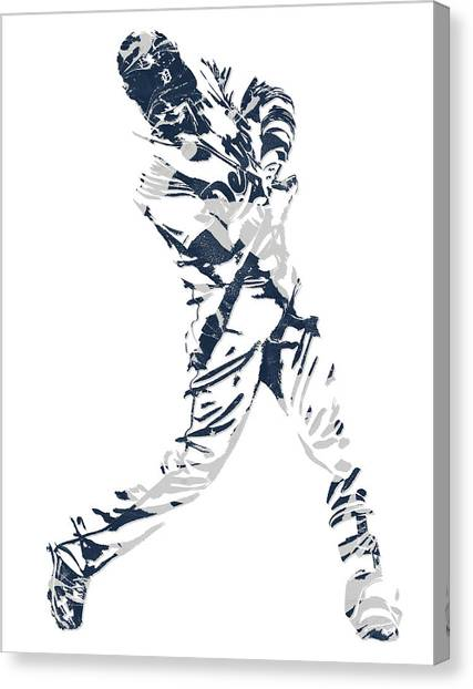 Detroit Tigers Canvas Print - J D Martinez Detroit Tigers Pixel Art 3 by Joe Hamilton