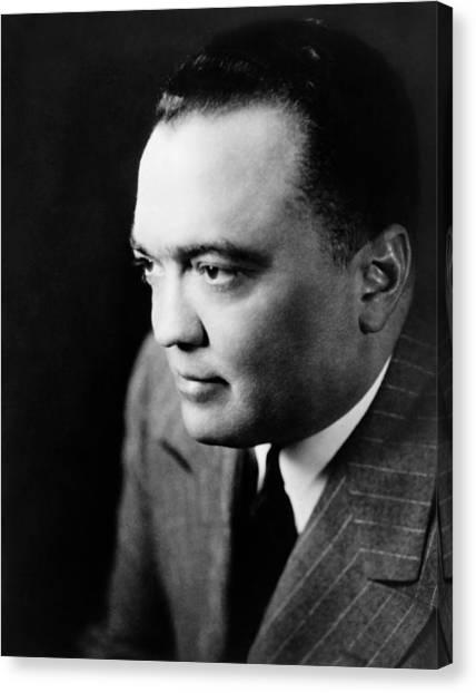 Fbi Canvas Print - J Edgar Hoover Portrait - 1948 by War Is Hell Store