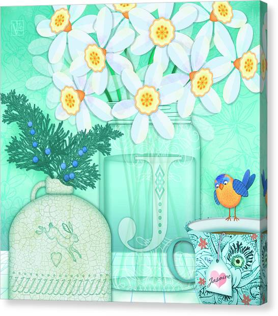 J Is For Jar Of Jonquils Canvas Print