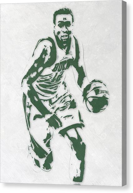 Milwaukee Bucks Canvas Print - Jabari Parker Milwaukee Bucks Pixel Art 2 by Joe Hamilton