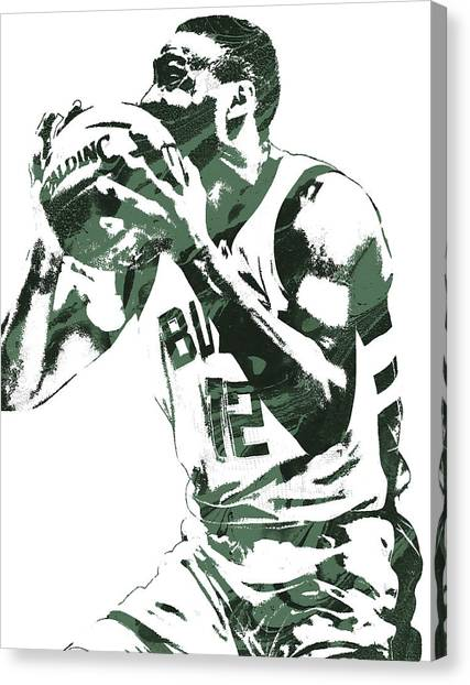 Milwaukee Bucks Canvas Print - Jabari Parker Milwaukee Bucks Pixel Art 4 by Joe Hamilton