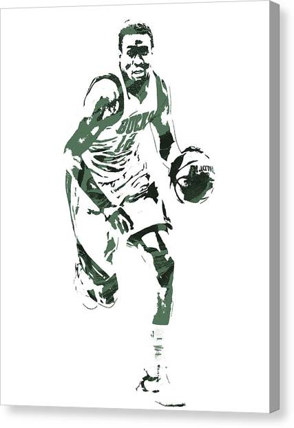 Milwaukee Bucks Canvas Print - Jabari Parker Milwaukee Bucks Pixel Art 5 by Joe Hamilton
