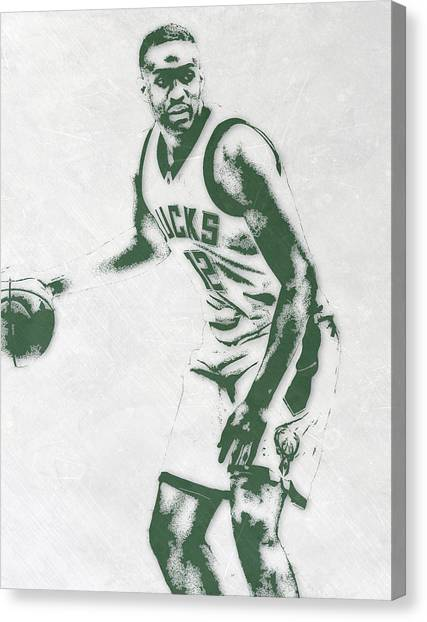 Milwaukee Bucks Canvas Print - Jabari Parker Milwaukee Bucks Pixel Art by Joe Hamilton