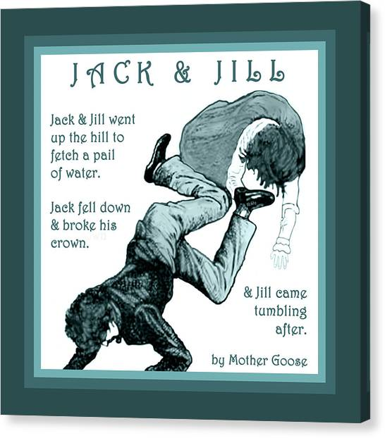 Canvas Print featuring the painting Jack And Jill Vintage Mother Goose Nursery Rhyme by Marian Cates