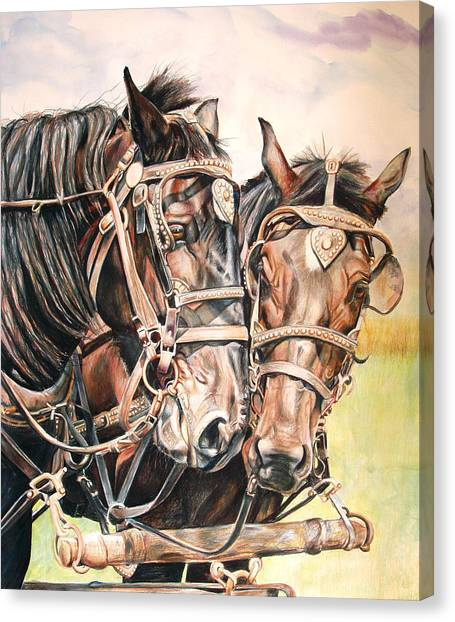 Horse Farms Canvas Print - Jack And Joe Hard Workin Horses by Toni Grote