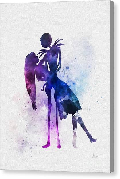 Burton Canvas Print - Jack And Sally by Rebecca Jenkins