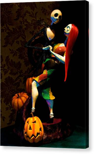 Snowboarding Canvas Print - Jack And Sally by Thanh Thuy Nguyen