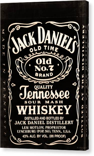 Bourbon Canvas Print - Jack Daniel's by David Stasiak