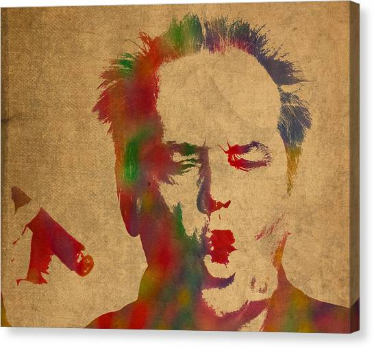 Jack Nicholson Canvas Print - Jack Nicholson Smoking A Cigar Blowing Smoke Ring Watercolor Portrait On Old Canvas by Design Turnpike