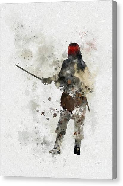 Johnny Depp Canvas Print - Jack Sparrow by Rebecca Jenkins