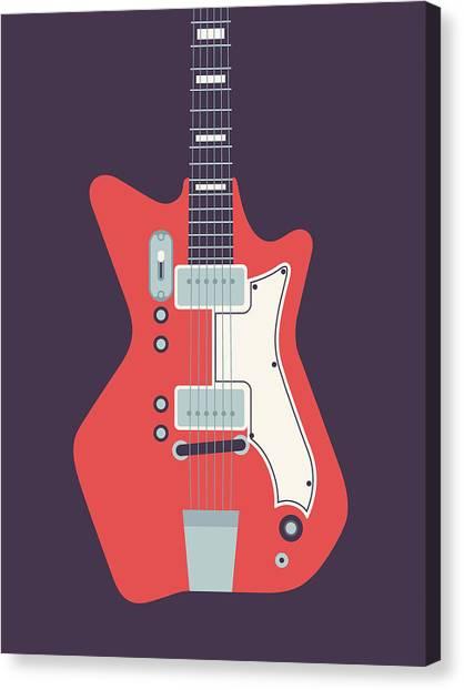 Electric Guitar Canvas Print - 60's Electric Guitar - Black by Ivan Krpan