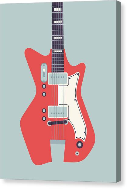 Electric Guitar Canvas Print - 60's Electric Guitar - Grey by Ivan Krpan