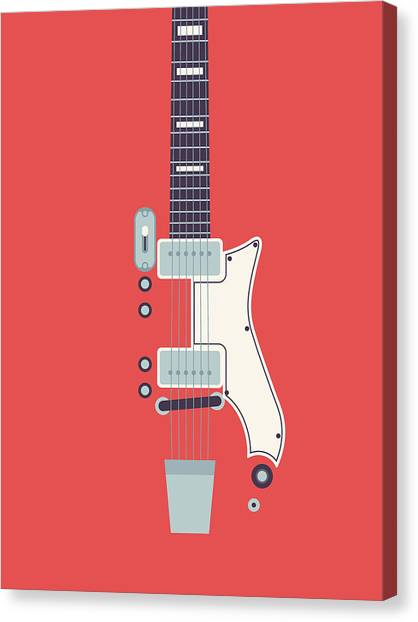 Electric Guitar Canvas Print - 60's Electric Guitar - Red by Ivan Krpan