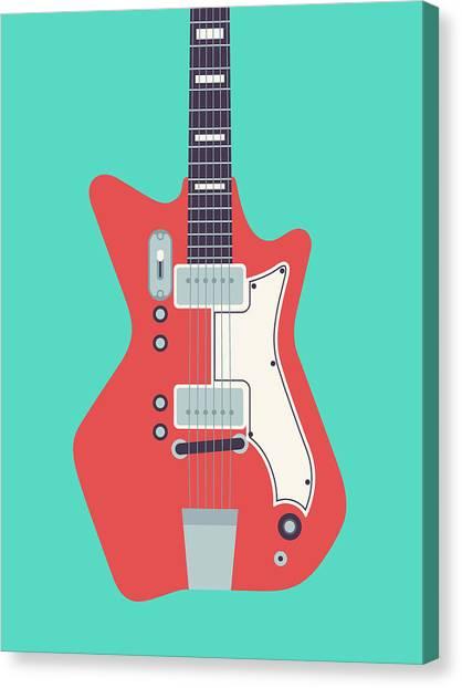 Electric Guitar Canvas Print - 60's Electric Guitar - Teal by Ivan Krpan