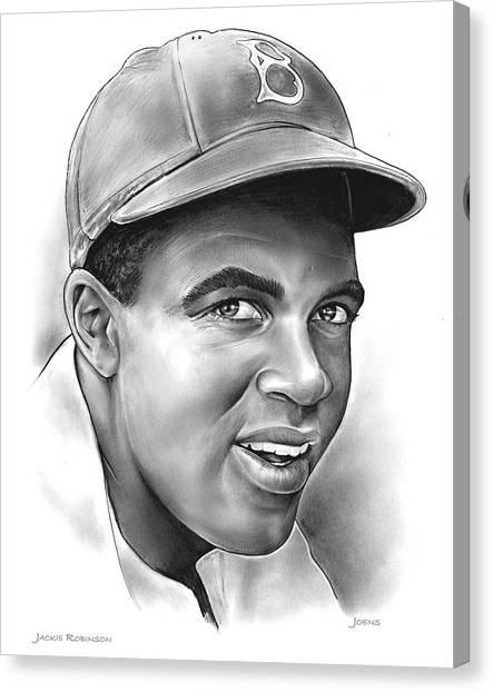 Mlb Canvas Print - Jackie Robinson by Greg Joens