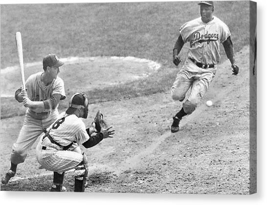 Jackie Robinson Stealing Home Yogi Berra Catcher In 1st Game 1955 World Series Canvas Print
