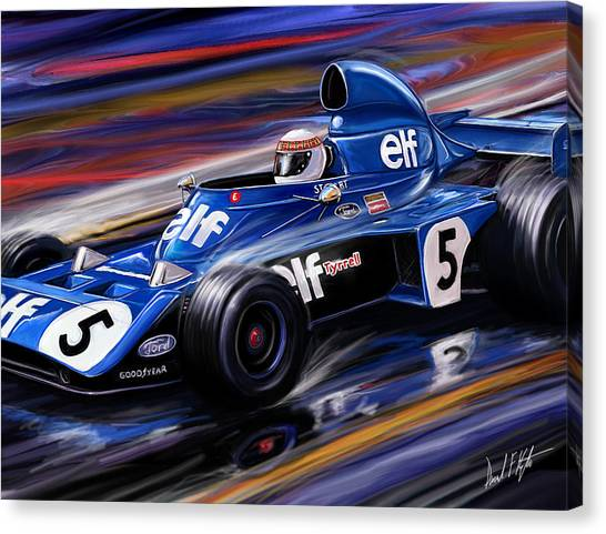Formula 1 Canvas Print - Jackie Stewart In The Rain by David Kyte