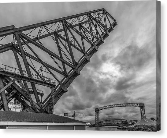 Jackknife Bridge To The Clouds B And W Canvas Print