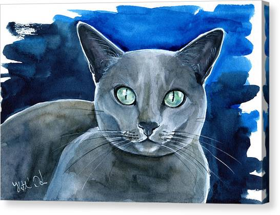 Jackpot - Russian Blue Cat Painting Canvas Print