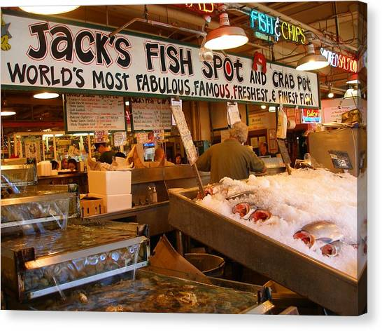 Jacks Fish Spot And Crab Pot-seattle Pike Place Market Canvas Print by Candace Garcia