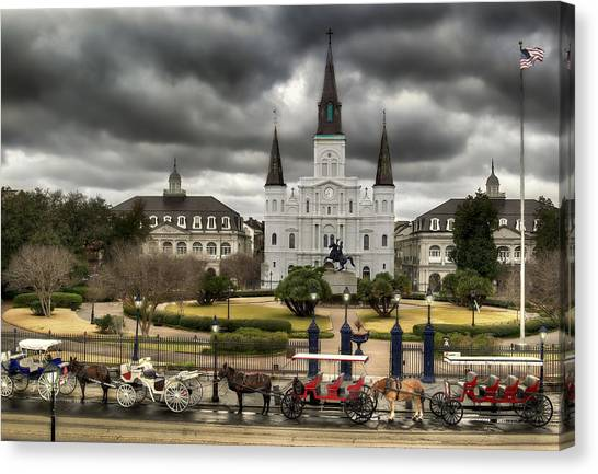 Carriage Canvas Print - Jackson Square New Orleans by Don Lovett