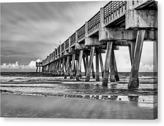 Jacksonville Beach Pier In Black And White Canvas Print