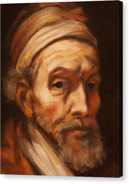 Jacob Trip After Rembrandt Closeup Of Face Canvas Print
