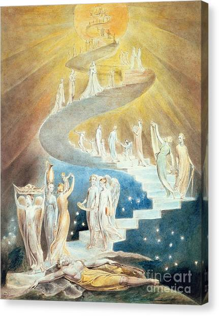 Old Testament Canvas Print - Jacobs Ladder by William Blake