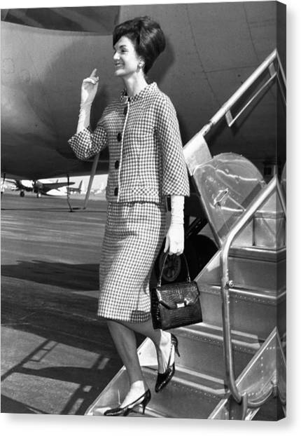 First Lady Canvas Print - Jacqueline Kennedy Deplanes In New York by Everett
