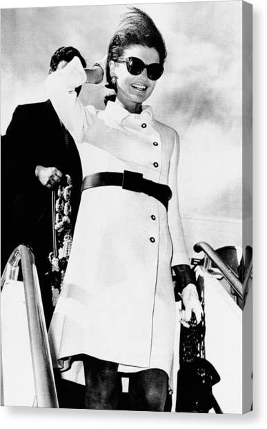 First Lady Canvas Print - Jacqueline Kennedy, Wearing A White by Everett