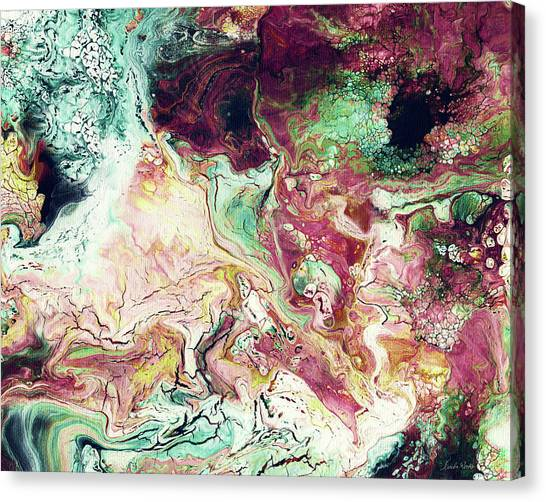 Fluids Canvas Print - Jade Rhapsody - Abstract Art By Linda Woods by Linda Woods