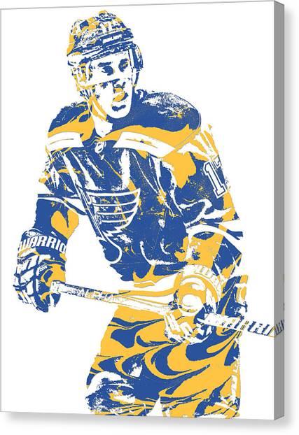 St. Louis Blues Canvas Print - Jaden Schwartz St Louis Blues Pixel Art 2 by Joe Hamilton