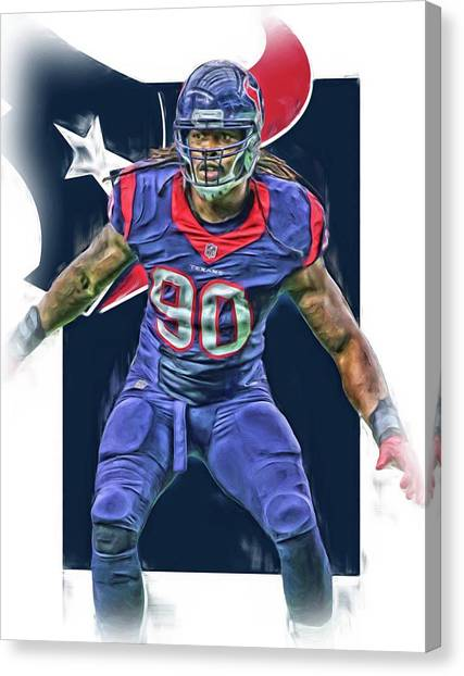 Houston Texans Canvas Print - Jadeveon Clowney Houston Texans Oil Art by Joe Hamilton