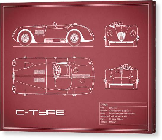 Car blueprint canvas prints page 7 of 25 fine art america car blueprint canvas print jaguar c type blueprint red by mark rogan malvernweather Gallery