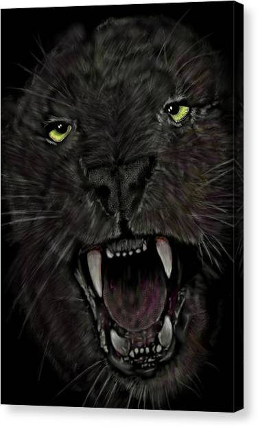 Canvas Print featuring the digital art Jaguar by Darren Cannell