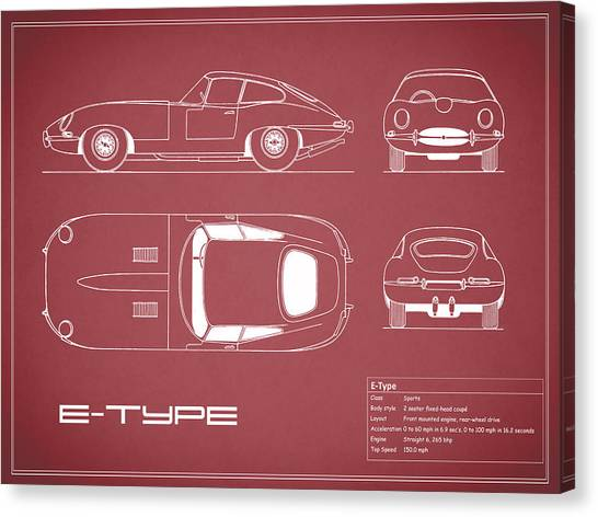Car blueprint canvas prints page 7 of 25 fine art america car blueprint canvas print jaguar e type blueprint red by mark rogan malvernweather Gallery