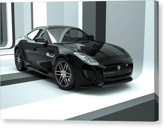 Jaguar F-type - Black Retro Canvas Print