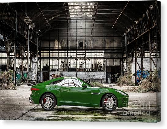 Jaguar F-type - British Racing Green - Side View Canvas Print